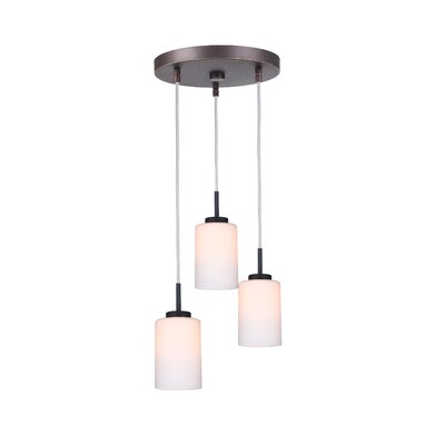 Sadowski 3-Light Glass Shade Cluster Pendant Finish: Metallic Bronze