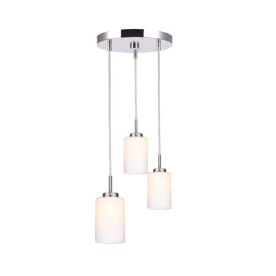 Sadowski 3-Light Glass Shade Cluster Pendant Finish: Satin Nickel