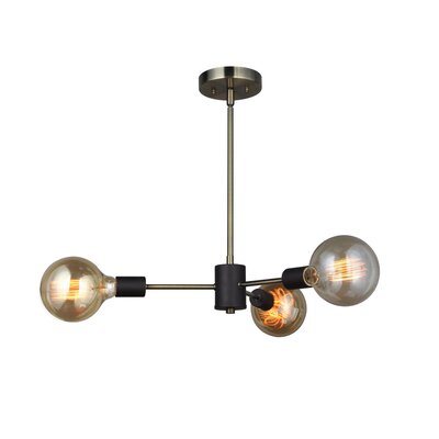 Ethan 3-Light Geometric Pendant Finish: Brussed Brass/Black