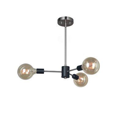 Ethan 3-Light Geometric Pendant Finish: Satin Nickel/Matt Black