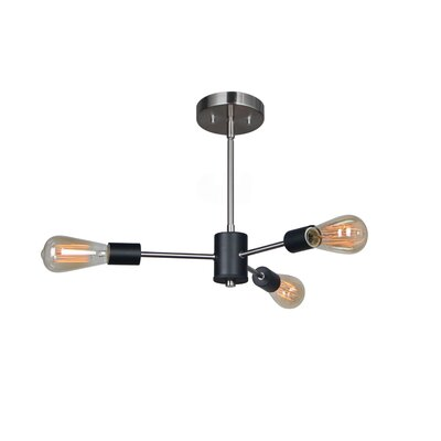 Ethan 3-Light Pendant Finish: Satin Nickel / Matt Black