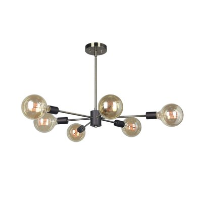 Ethan 6-Light Sputnik Chandelier Finish: Brushed Brass/Black
