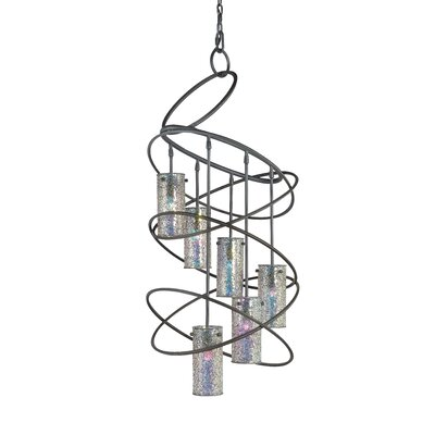 Loop 6-Light Shaded Chandelier Finish: Black, Shade: Iridescent Mosaic