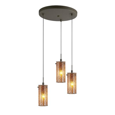 Keiser 3-Light Metal Mini Pendant Finish: Metallic Bronze, Shade Color: Amber Mosaic