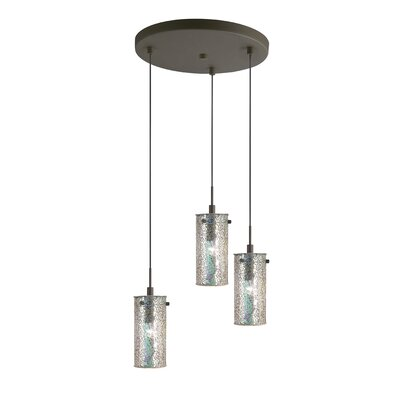 Ceiling Cluster 3-Light Mini Pendant Shade Color: Iridescent Mosaic, Finish: Metallic Bronze
