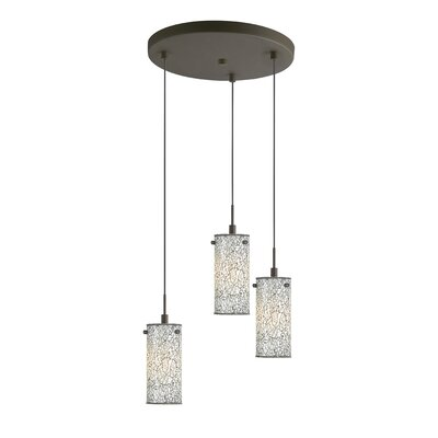 Keiser 3-Light Metal Mini Pendant Finish: Metallic Bronze, Shade Color: White Mosaic