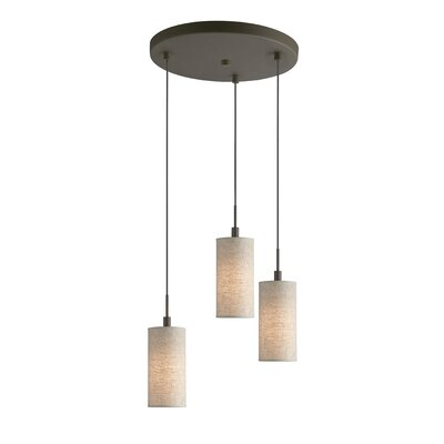 Keiser 3-Light Metal Mini Pendant Finish: Metallic Bronze, Shade Color: Beige Shade