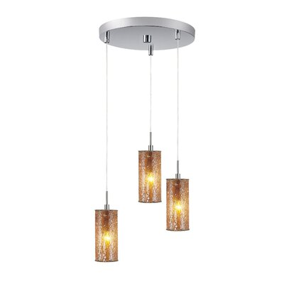Ceiling Cluster 3-Light Mini Pendant Shade Color: Amber Mosaic, Finish: Satin Nickel