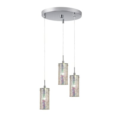 Ceiling Cluster 3-Light Mini Pendant Shade Color: Iridescent Mosaic, Finish: Satin Nickel