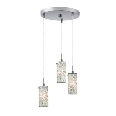 Ceiling Cluster 3-Light Mini Pendant Finish: Satin Nickel, Shade Color: White Mosaic
