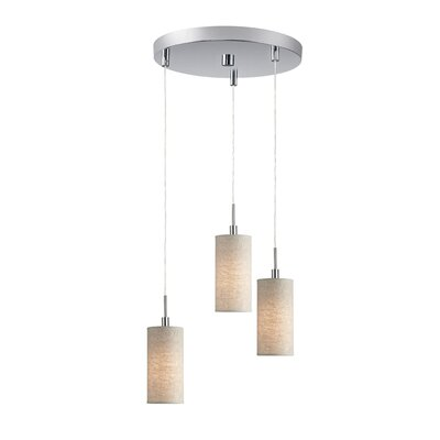 Keiser 3-Light Metal Mini Pendant Finish: Satin Nickel, Shade Color: Beige Shade