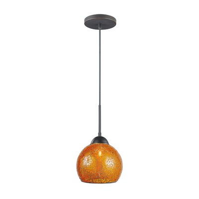 1-Light Mini Pendant Finish: Metallic Bronze, Shade Color: Amber