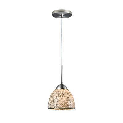 1-Light Mini Pendant Finish: Satin Nickel, Shade Color: White