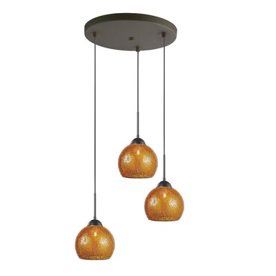 3-Light Mini Pendant Cluster Finish: Metallic Bronze, Shade Color: Amber