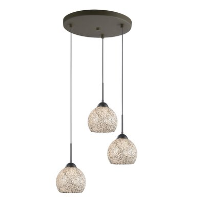 3-Light Mini Pendant Cluster Finish: Metallic Bronze, Shade Color: White