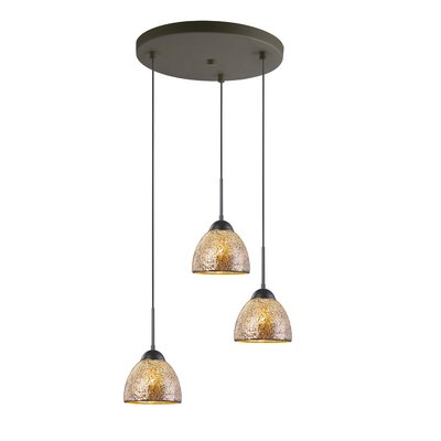 3-Light Mini Pendant Cluster Finish: Metallic Bronze, Shade Color: Mirror