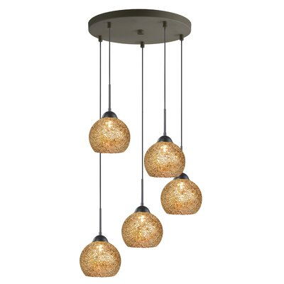 5-Light Mini Pendant Cluster Finish: Metallic Bronze, Shade Color: Mirror