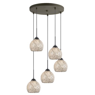 5-Light Mini Pendant Cluster Finish: Metallic Bronze, Shade Color: White