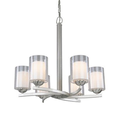 Saver 6-Light Shaded Chandelier Finish: Satin Nickel