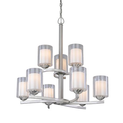 Saver 9-Light Shaded Chandelier Finish: Satin Nickel