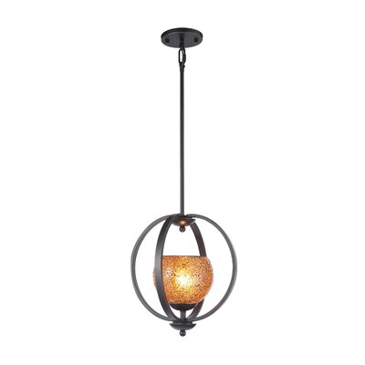 Geo 1-Light Mid Foyer Pendant Shade Color: Amber, Finish: Metallic Bronze