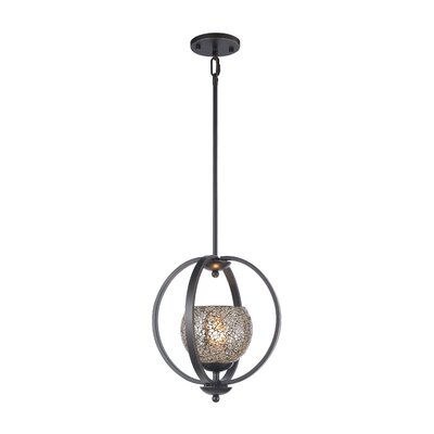 Geo 1-Light Mid Foyer Pendant Finish: Metallic Bronze, Shade Color: Mirror