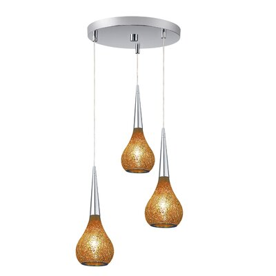 Torine 3-Light Mini Pendant Cluster Shade Color: Amber