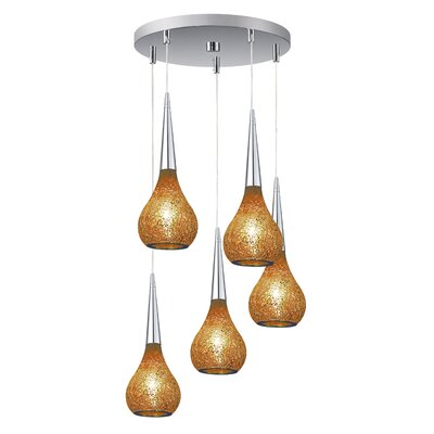 Torine 5-Light Mini Pendant Cluster Shade Color: Amber
