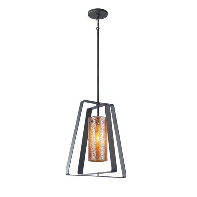 Twin 1-Light Foyer Pendant Shade Color: Amber Mosaic Glass