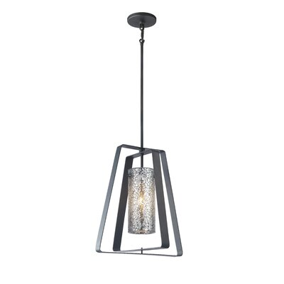 Twin 1-Light Foyer Pendant Shade Color: Mirror Mosaic Glass