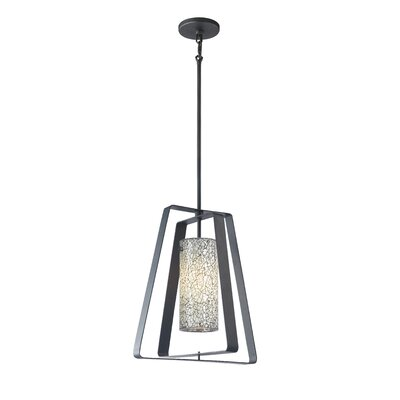 Twin 1-Light Foyer Pendant Shade Color: White Mosaic Glass