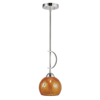 North Bay 1-Light Mini Pendant Shade Color: Amber Mosaic Bell, Finish: Satin Nickel