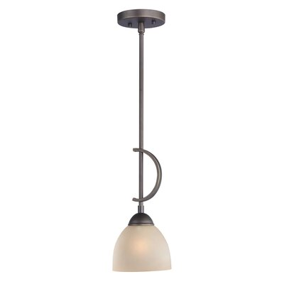 North Bay 1-Light Mini Pendant Finish: Metallic Bronze, Shade Color: White Mosaic Bell