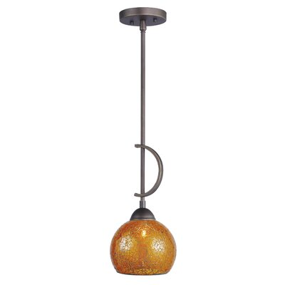 North Bay 1-Light Mini Pendant Finish: Metallic Bronze, Shade Color: Amber Mosaic Bell