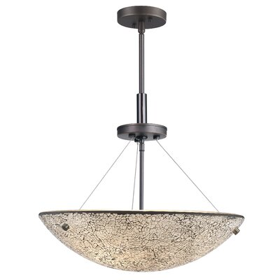 Dish 3-Light Inverted Pendant Finish: Metallic Bronze, Shade Color: White Mosaic