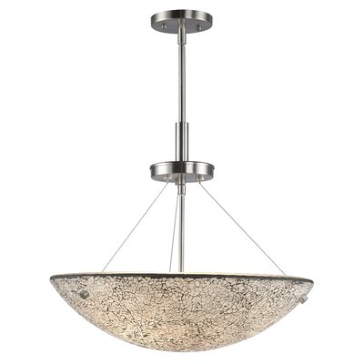 Dish 3-Light Inverted Pendant Finish: Satin Nickel, Shade Color: White Mosaic