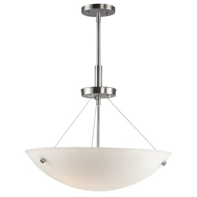 Dish 3-Light Inverted Pendant Finish: Satin Nickel, Shade Color: White Glass