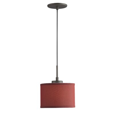 Ceiling Cluster 1-Light Mini Drum Pendant Shade Color: Dark Red Drum, Finish: Metallic Bronze