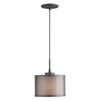 Ceiling Cluster 1-Light Mini Drum Pendant Shade Color: Grey Drum, Finish: Metallic Bronze