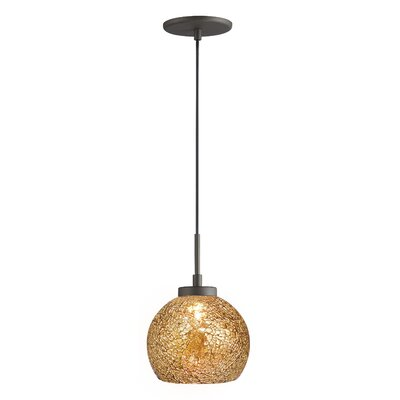 Keiser 1-Light Mini Drum Pendant Finish: Metallic Bronze, Shade Color: Mirror Mosaic