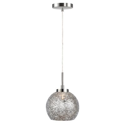 Keiser 1-Light Mini Drum Pendant Finish: Satin Nickel, Shade Color: Mirror Mosaic