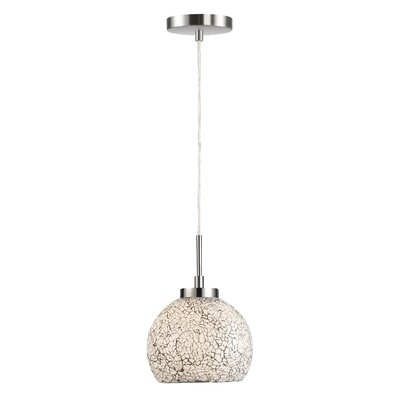 Ceiling Cluster 1-Light Mini Drum Pendant Finish: Satin Nickel, Shade Color: White Mosaic