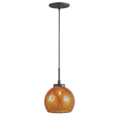 Keiser 1-Light Mini Drum Pendant Finish: Metallic Bronze, Shade Color: Amber Mosaic