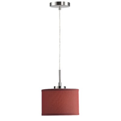Ceiling Cluster 1-Light Mini Drum Pendant Shade Color: Dark Red Drum, Finish: Satin Nickel