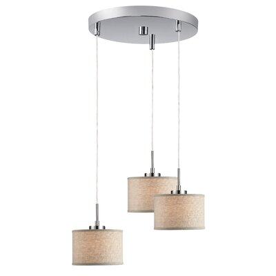 Ceiling Cluster 3-Light Mini Pendant Shade Color: Beige Drum, Finish: Satin Nickel