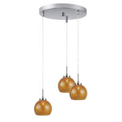 Keiser 3-Light Mini Pendant Finish: Satin Nickel, Shade Color: Amber Mosaic