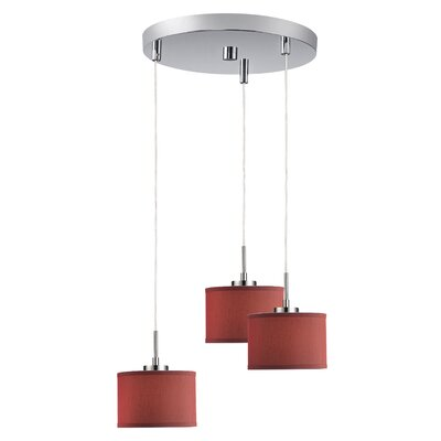 Keiser 3-Light Mini Pendant Finish: Satin Nickel, Shade Color: Dark Red Drum