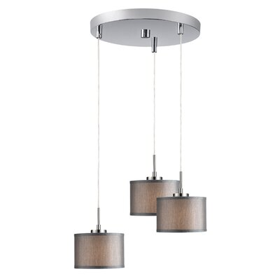 Keiser 3-Light Mini Pendant Finish: Satin Nickel, Shade Color: Grey Drum