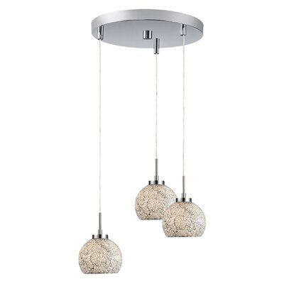 Keiser 3-Light Mini Pendant Finish: Satin Nickel, Shade Color: White Mosaic