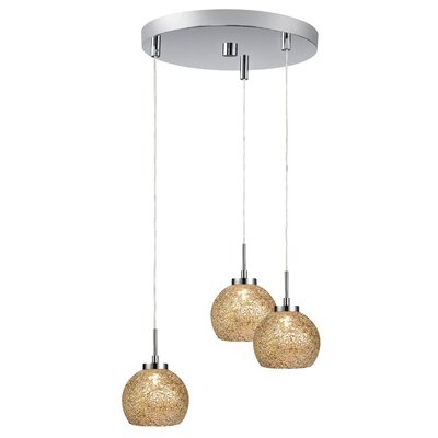 Keiser 3-Light Mini Pendant Finish: Satin Nickel, Shade Color: Mirror Mosaic
